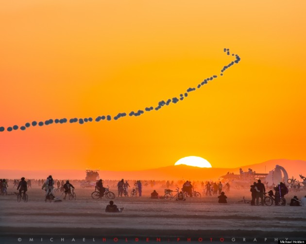 Sunrise in the deep playa, Burning Man 2014